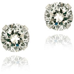 Icz Stonez 14k White Gold 1 5/8ct TGW 5-mm Cubic Zirconia Stud Earrings