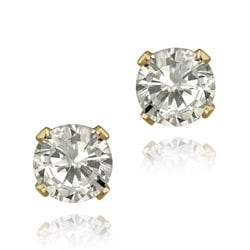 Glitzy Rocks 14k Yellow Gold 1 5/8ct TGW 5-mm Cubic Zirconia Stud Earrings