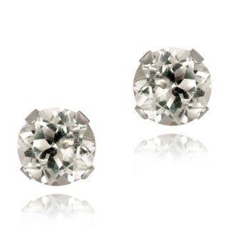 Glitzy Rocks 14k White Gold 3/5ct TGW 5mm White Topaz Stud Earrings