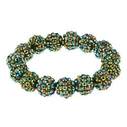 Green Crystal Fireball Acrylic Stretch Bracelet