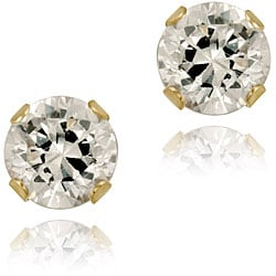 Icz Stonez 14k Yellow Gold 7/8ct TGW 4-mm Cubic Zirconia Stud Earrings