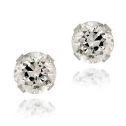 Glitzy Rocks 14k White Gold 7/8ct TGW 4-mm Cubic Zirconia Stud Earrings