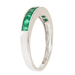 D'Yach 14k White Gold Square-cut Emerald Fashion Ring