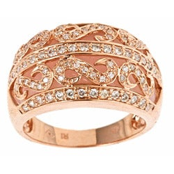 D'Yach 14k Rose Gold Pink Opal and 3/5ct TDW Diamond Accent Ring (G-H, I1-I2)