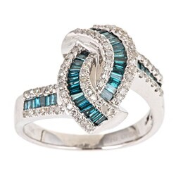 D'Yach 10k Gold 7/8ct TDW Blue and White Diamond Fashion Cocktail Ring (G-H, I1-I2)