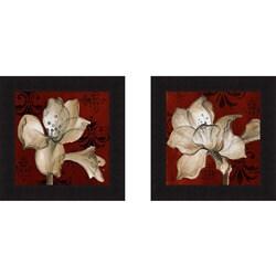 Lanie Loreth 'Amaryllis on Red I and II' Framed Print