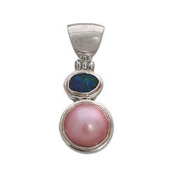 Sterling Silver 'Eclipse' Pearl and Opal Pendant (14 mm) (Indonesia)