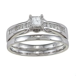 14k White Gold 5/8ct TDW Princess-cut Diamond Wedding Set (I, I1)
