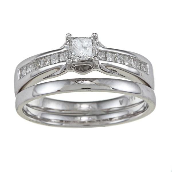 Brides Across America 14k White Gold 5/8ct TDW Princess-cut Diamond Wedding Set (I, I1)