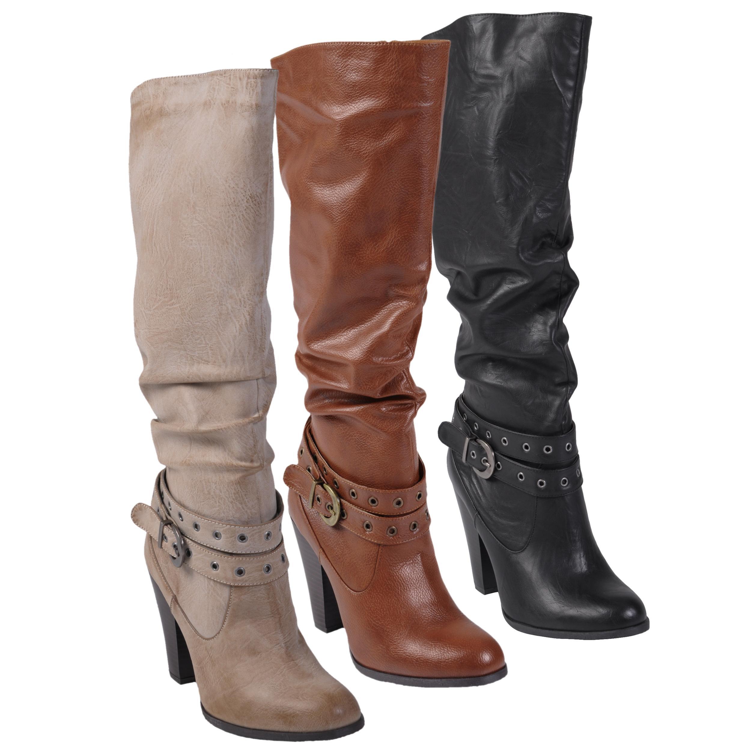 Journee Collection Women's 'ALADDIN-51' Buckle Accent High Heel Boot