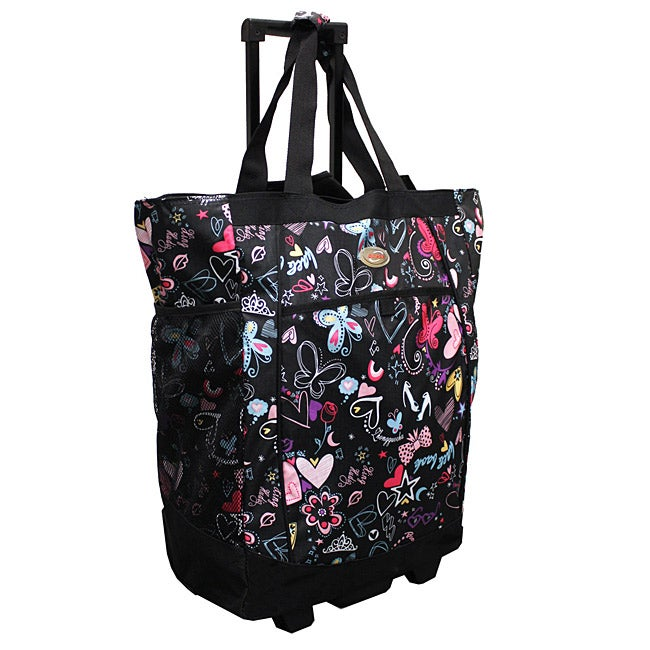 Olympia 20-inch Butterfly Rolling Shopper Tote