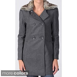 Ci Sono by Journee Juniors Faux Fur Accent Double-breasted Long Coat
