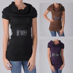 Ci Sono by Adi Juniors Cowl Neck Belted Sweater Tunic