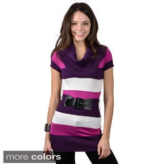 Ci Sono by Adi Juniors Cowl Neck Striped Belted Sweater Tunic