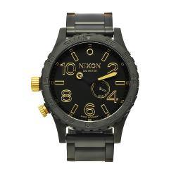 Nixon Men's 51-30 Stainless Steel/Black Watch with Goldtone Accents