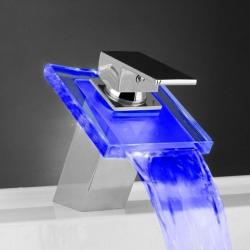 LED Color Changing Waterfall Bathroom Faucet