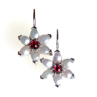 Sterling Silver Pearl and Garnet Earrings (India)