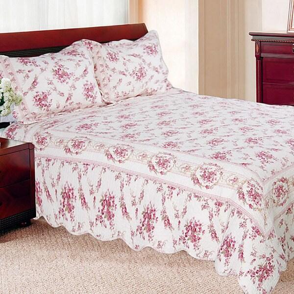 Vintage Rose King-size 3-piece Quilt Set