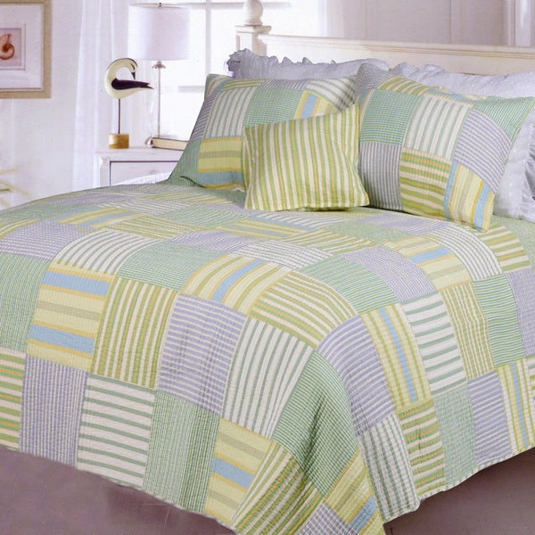 Spa Stripes Patchwork Quilt Set 13812950 Overstock Com