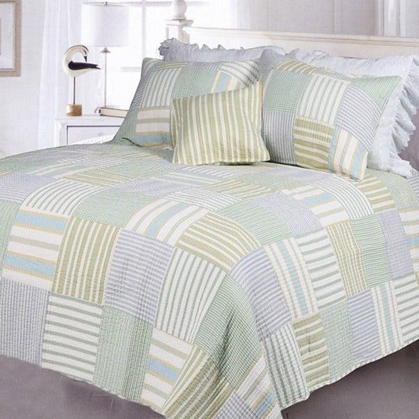 Spa Stripes Patchwork Twin-size 2-piece Quilt Set