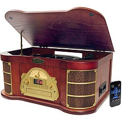 Pyle Classical Turntable with AM/FM Radio CD/Cassette & USB Recording (Refurbished)