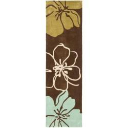 Handmade Avant-garde Gardens Brown Rug (2'3 x 8')