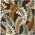 Handmade Avant-garde Ferns Brown Rug (7' Square)