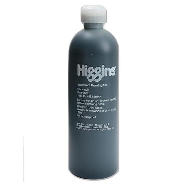 Higgins Black 16-ounce Waterproof India Ink Bottle