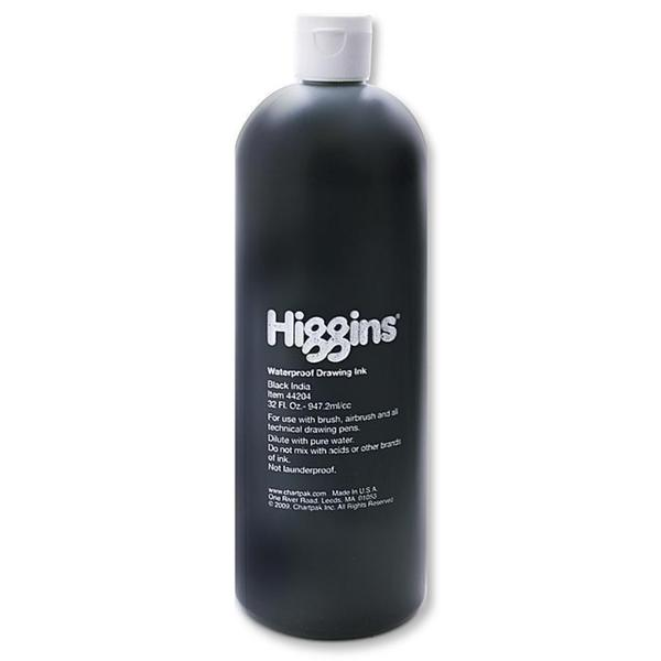Higgins Black 32-ounce Waterproof India Ink