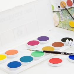 Grumbacher Deluxe Opaque Watercolor Pans (Set of 12)
