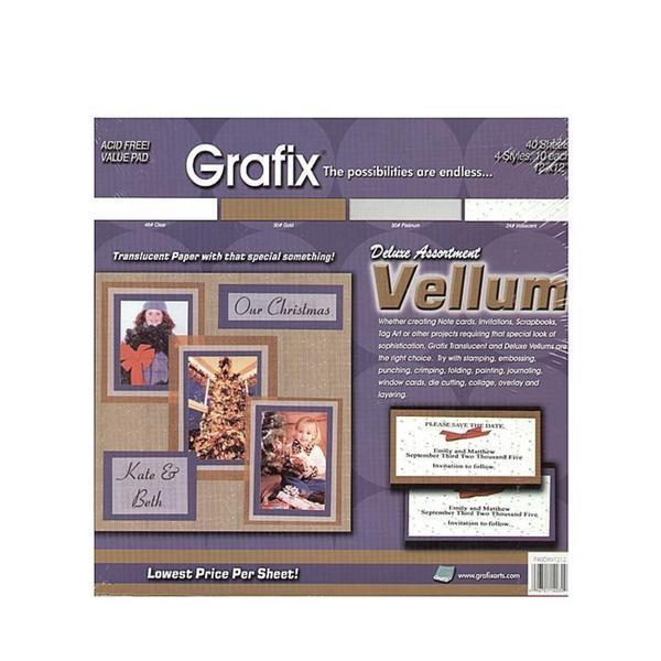 Grafix 12-inch x 12-inch Deluxe Translucent Vellum Assortment