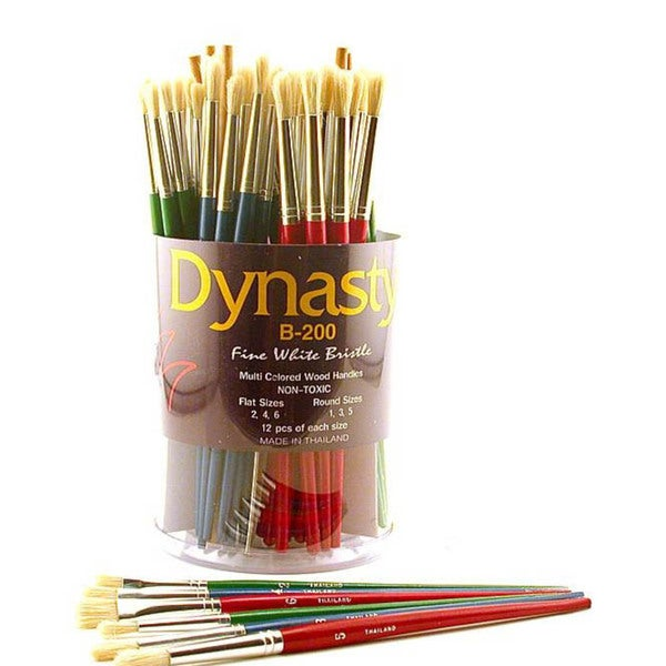 Dynasty Fine White Bristle B-200 Brushes (Canister of 72)
