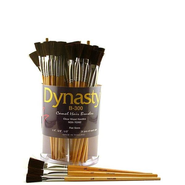 Dynasty Camel Hair B-300 Flat Brushes (Canister of 72)
