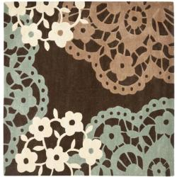 Handmade Avant-garde Terra Brown Rug (7' Square)