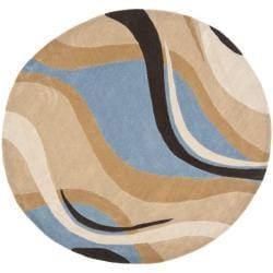 Handmade Avant-garde Waves Blue Rug (7' Round)