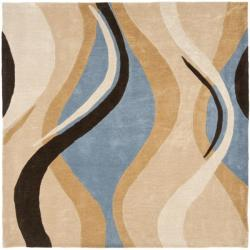 Handmade Avant-garde Waves Blue Rug (7' Square)
