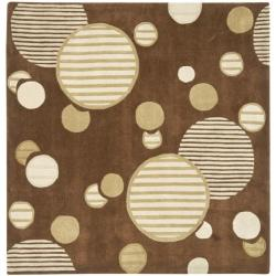 Handmade Avant-garde Galaxy Brown Rug (7' Square)