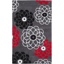 Handmade Avant-garde Daisies Dark Grey Rug (5' x 8')