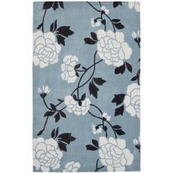 Handmade Avant-garde Harmony Blue Rug (5' x 8')