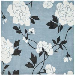 Handmade Avant-garde Harmony Blue Rug (7' Square)