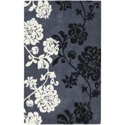 Handmade Avant-garde Shadows Dark Grey Rug (5' x 8')