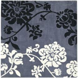 Handmade Avant-garde Shadows Dark Grey Rug (7' Square)