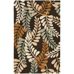 Handmade Avant-garde Ferns Brown Rug (8' x 10')