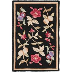 Simply Clean Botanical Hand-hooked Black Rug (2' x 3')