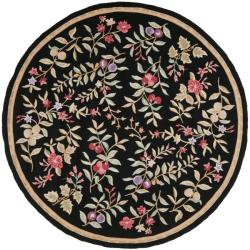 Simply Clean Botanical Hand-hooked Black Rug (6' Round)