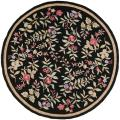 Simply Clean Botanical Hand-hooked Black Rug (8' Round)
