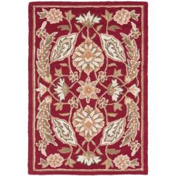 Simply Clean Kerman Hand-hooked Red Rug (2' x 3')