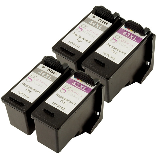 Sophia Global Lexmark 44XL and 43XL Ink Cartridges (Pack of 4) (Remanufactured)