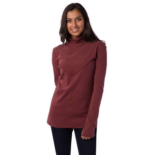 AtoZ Women's Cotton Stitched Panel Turtleneck Top