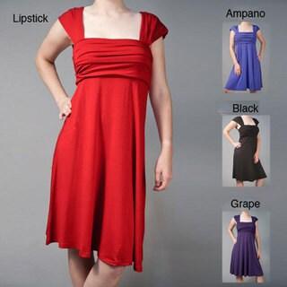 AtoZ Women's Ruched Bodice Cap-sleeve Dress